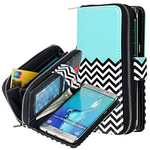 E LV Case for Galaxy S6 Edge Plus - Case Cover - PU Leather Flip Folio Wallet Purse Case Cover for Samsung Galaxy S6 Edge Plus - Zigzag