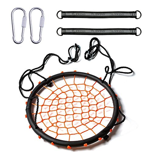 Original - 1 Pack - IMAGE 24''/60cm Children's Web Swing Playground Platform net Swing orange color Nylon Rope with EVA padded steel 60cm/24inch Diameter