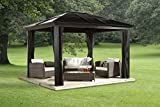 Sojag 500-5153224 8mm 2 Track No.53 Sedona Hard Top Sun Shelter, 10' by 12', Dark Brown