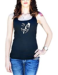 Women's V for Vendetta Inspired Mask Silhouette Tank Top