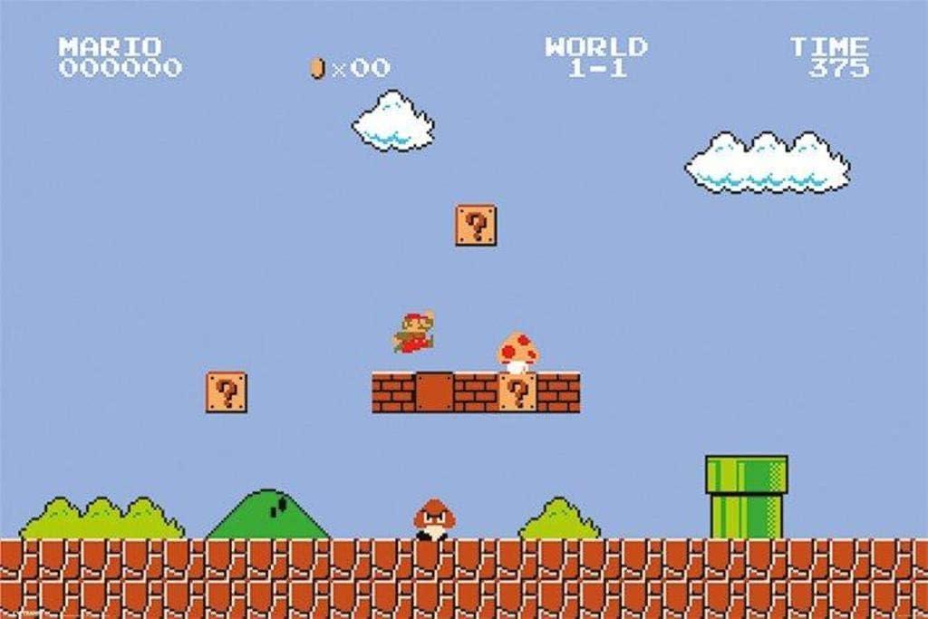 Pyramid America Super Mario Bros. Level 1 Video Game Gaming Cool Wall Decor Art Print Poster 36x24