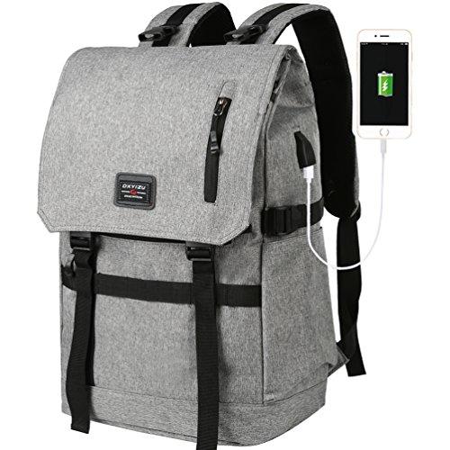 Vbiger Laptop Rucksack Große Kapazität Reise Rucksack Daypack Schule Rucksäcke mit USB Ladefunktion 15.6 Zoll Grau sByta