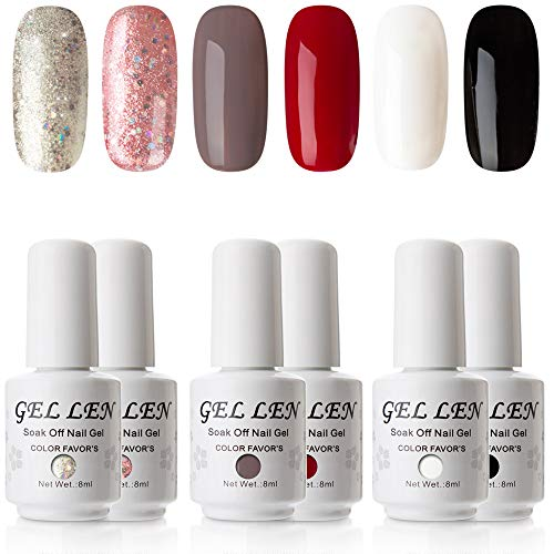 (Gellen New Pure & Glitters Gel Polish Set - (Champagne Glitters, Peach Glitters, Coffee, Red, Black, White))