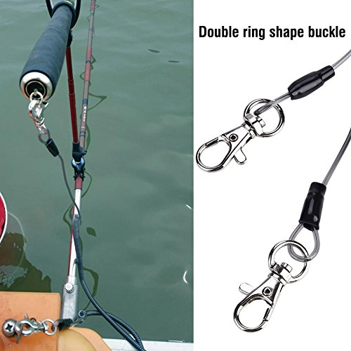 Alomejor Safety Stainless Steel Wire Fishing Lanyard, Durable Retractable Heavy Duty Lanyard With Carabiner for Mountaineering by Alomejor (Image #6)