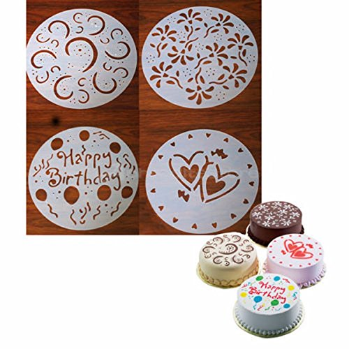 [Money coming shop Eco Friendly High Quality 4 Styles Flower Heart Spray Stencils Birthday Cake Mold Decorating Bakery Tools] (Dummy Costume Diy)