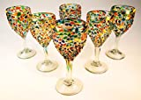 Mexican Glass Hand Blown Pebble Confetti Wine Glasses