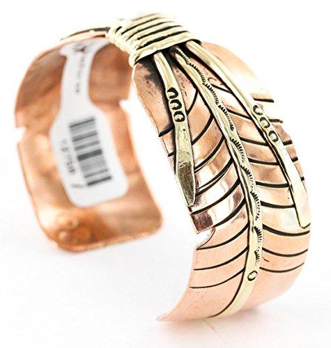 Rare $240vente au détail Tag faite à la main authentique Made By Amaro Roadhorse Apache en cuivre et laiton indien Bracelet