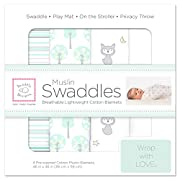 SwaddleDesigns Cotton Muslin Swaddle Blankets, Set of 4, Woodland Fun and Pure White …