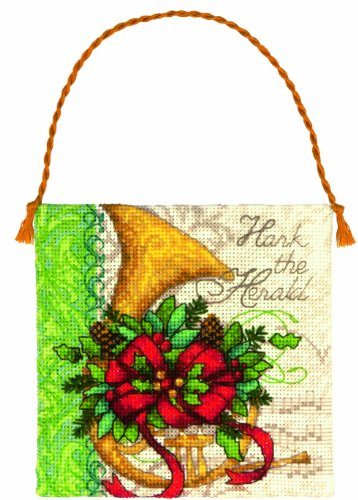 Dimensions 35216 Counted Cross Stitch, Gold Petite Collection French Horn - Kit Christmas Petites