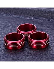 Garneck 3 peças Carro Liga de Alumínio Interior Ar Condicionado Áudio Twist Switch Ring Botão Capa Compatível com Subaru WRX STI Impreza Forester XV Crosstrek 2013-2015 (Vermelho)