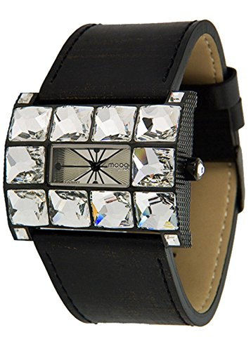 Moog Paris - Crystal - Women's Watch with silver dial, black strap in Genuine calf leather, made in France - M45322-001