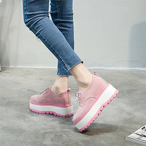 Style Damen Schuhe Up A 2018 Neue Unteren Dicken Freizeitschuhe Atmungsaktive Mode Oxford Academy Erhöhen Schuhe Höhe Schuhe Lace Sommer PU Womens Kunstleder 36 Herbst PqZE6Bn