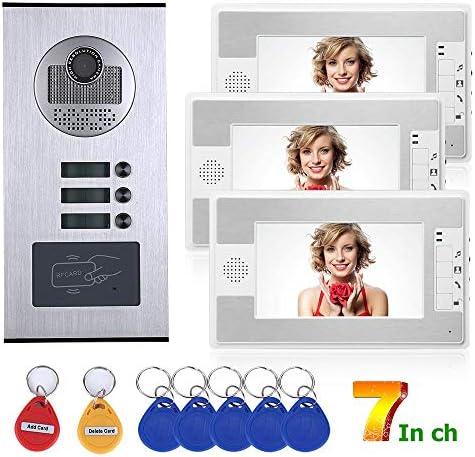7インチ3アパート/防水3ボタン3モニタのファミリービデオドア電話インターホンシステムRFID IR-CUT HD 1000TVLカメラドアベルカメラ