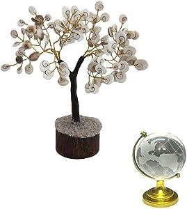 Feng Shui Crystal Globe & Natural Gomati Chakra Healing Gem Stone Bonsai Fortune Vastu Plant Tree; Good Luck, Wealth, Success & Prosperity; Home Office Table Decor Gift Item; 200 Stones ( Gomti Chakra)