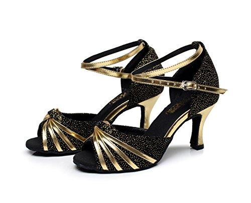 Jazz Salsa Chacha Zapatos Samba Mujer Black8 Para Dance Modern Que Tacones Tango 5cm Altos Latinos Sandals JSHOE Brillan BAf1Ff
