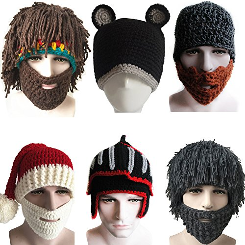 Yosang Windproof Ski Mask Warm Knitted Beanie Hat Cap - Beard For Shape Face Styles