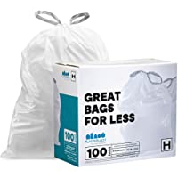 Plasticplace simplehuman (x) Code H Compatible (100 Count) Drawstring Garbage Liners, White