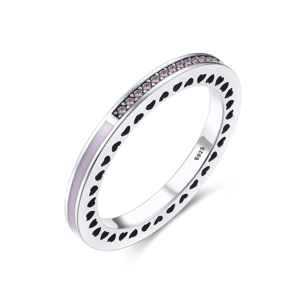 Tongzhe 2mm Vintage Love Heart Stackable Band Ring in Sterling Silver 925 w/Cubic Zirconia & Enamel[Size 8]