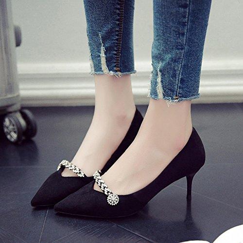 Alta Con Negro Mujer Punta Con La Solo Shoes Primavera GAOLIM Verano 5Cm Fina Heel Zapatos n6Wtxcc