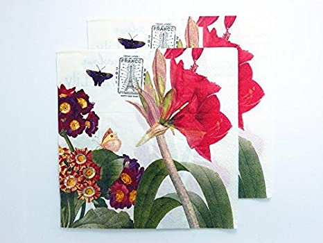 for Party Craft,Beauty Flower Decoupage 20 Vintage PAPER Table NAPKINS Lunch
