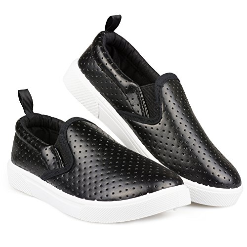 Chillipop SBK411-BLK-Y3 Slip-On Sneakers for Girls, Boys & Toddlers, Perforated Design, Black