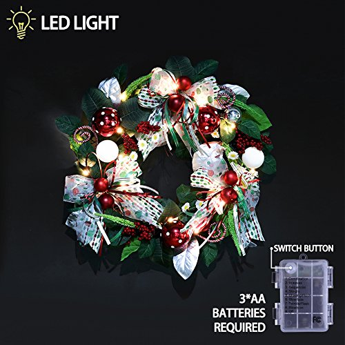 Teresa's Collections Pre-Lit 24 Inch Joyful Elf Christmas Wreath with Ball Ornaments,Berries,Candy Canes,Ribbons and Flowers,Battery Operated 20 LED Lights