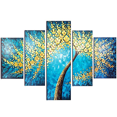 - Padsin Art Hand-Painted 5 Piece 3D Tree Oil Painting, Floral Lucky Tree Canvas Paintings Wall Art Hanging Painting Stretched and Framed for Living Room Bedroom