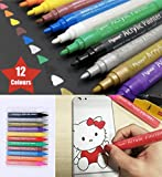 Acrylic Paint Marker Pens - Permanent Medium Tip Markers Perfect For Stone, Glass, Ceramic, Mug, Metal, Wood, Canvas, Window Painting And More. Set Of 12 Vibrant Colours, Ideal ForBirthday Gifts, Art and Crafts Tasks.