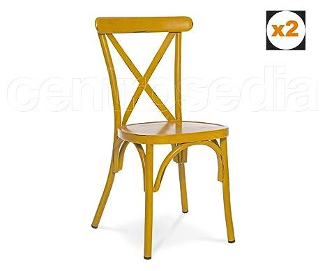 Centrosedia Set di 2 sedie Cross Stile Vintage Industriale Struttura ...
