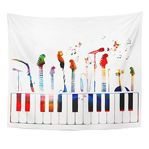 Emvency Tapestry Mandala 50x60 inch Home Decor Piano Colorful Music Instruments Color Guitar Modern Graphic Song Choir Keyboard For Bedroom Living Room ()