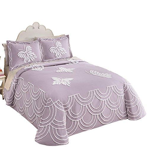 Butterfly Chenille Bedspread (Lavender Chenille Butterfly Bedspread, Lavender, Queen)