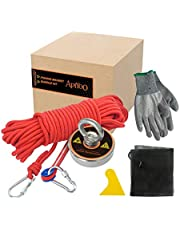 410lbf Super Strong Pulling Force N52 Fishing Magnets(D60), with 49ft Thick Durable Rope, a Pair of Level 3 Anti-Cut Gloves,2 Hooks,1 Scraper and 1 net Pocket, Salvage Magnet to Hunting Underwater Treasure
