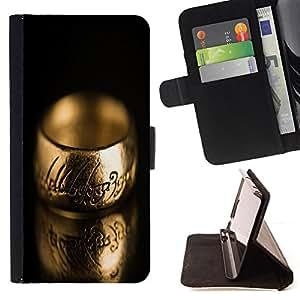 BullDog Case - FOR/HTC One M9 / - / cool ring engraved lord /- Monedero de cuero de la PU Llevar cubierta de la caja con el ID Credit Card Slots Flip funda de cuer