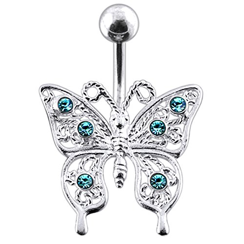 - Light Blue Gemstone Fancy Filigree Butterfly 925 Sterling Silver with Stainless Steel Belly Button Navel Rings