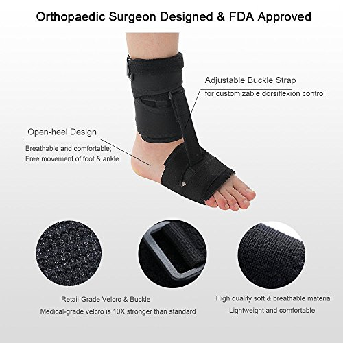 Right or Left Drop Foot Brace,Plantar Fasciitis Splint,Day/Night Dorsal Splint,Foot up Brace Prevent Dragging,Ware Barefoot/Inside Shoes,for Stroke,Achilles Tendonitis,Muscular Distrophy by igoeshopping (Image #3)