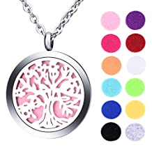 VALYRIA Tree of Life Aromatherapy Essential Oil Diffuser Necklace - Stainless Steel Locket Pendant with 12 Refill Pads