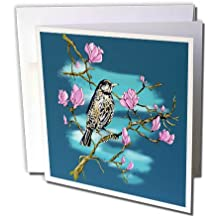 3dRose Justas Vebra Art - Nature And Ornaments - Happy bird in Spring with Sakura blossoms - 6 Greeting Cards with envelopes (gc_280171_1)