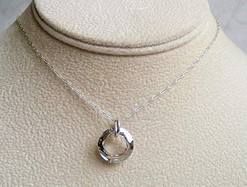 Light Grey Round Ring Pendant 16 Inch Sterling Silver Necklace Made With Swarovski Crystal Gift Idea