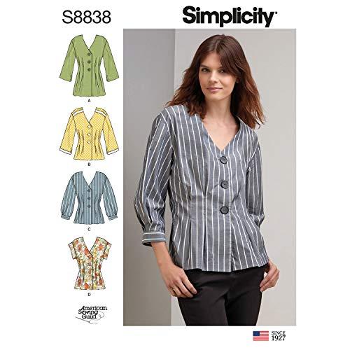 Simplicity US8838R5 Pattern S8838 Miss Petite Shirt, R5 (14-16-18-20-22)