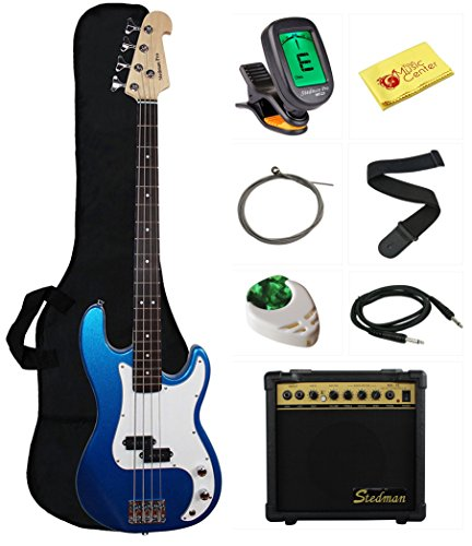 Stedman Beginner Series Bass Guitar Bundle with 15-Watt Amp, Gig Bag, Instrument Cable, Strap, Strings, Picks, and Polishing Cloth – Metallic Blue