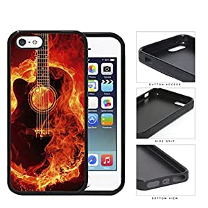 Acoustic Guitar Burning With Fire Flames Rubber Silicone TPU Cell Phone Case Apple iPhone 5 5s