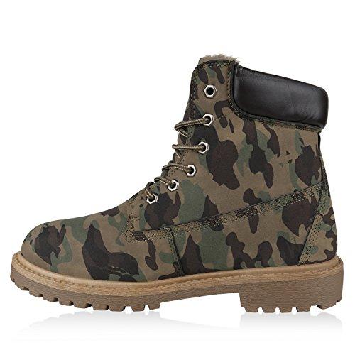 Stiefelparadies Herren Worker Boots Outdoor Schuhe Warm Gefütterte Stiefeletten Flandell Camouflage