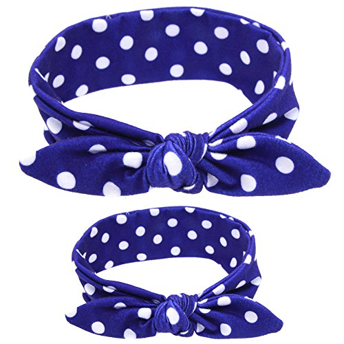 (Mommy and Me Headband Set Baby Photo Props Cotton/Spandex Head Wraps Blue Polka Dot)