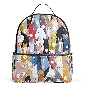 JSTEL Kids Backpack Children's Day Gift Horse School Backpacks for Boys Girls Bookbags Travel Laptop Bags