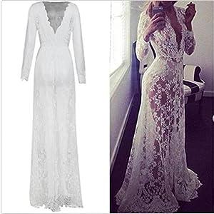 Wispun Sexy Deep-V Long Sleeve Lace Beach Dress See-Through Mullet Dress