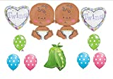 11pc TWIN BABY babies BALLOONS party SHOWER darker complexion CELEBRATE