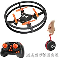 DWI Indoor Aerial Drone for kids Beginners with LED Light Nano Drones RTF Quadcopter D1 Orange