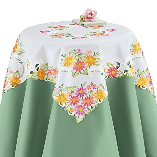 Collections Etc Colorful Daisy Floral Embroidered Table Linen Overlays Spring/Summer Table Decoration, Square