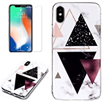for iPhone XR Marble Case and Screen Protector,Unique Pattern Design Ultra Thin Slim Fit Soft Silicone Phone Case Bumper,QFFUN Shockproof Anti-Scratch Protective Back Cover - Black Triangle