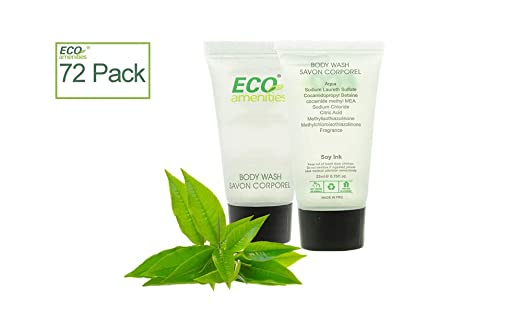 ECO Amenities Transparent Tube Screw Cap Individually Wrapped 22ml Shower Gel, 72 Tubes per Case